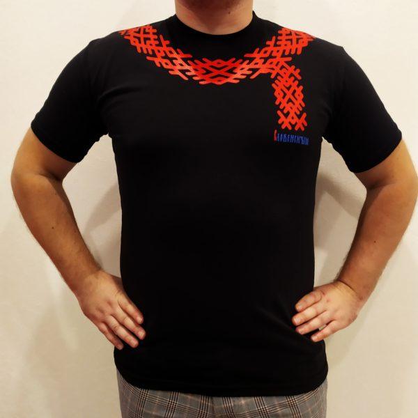 Купить современную черную мужскую косоворотку Словенские